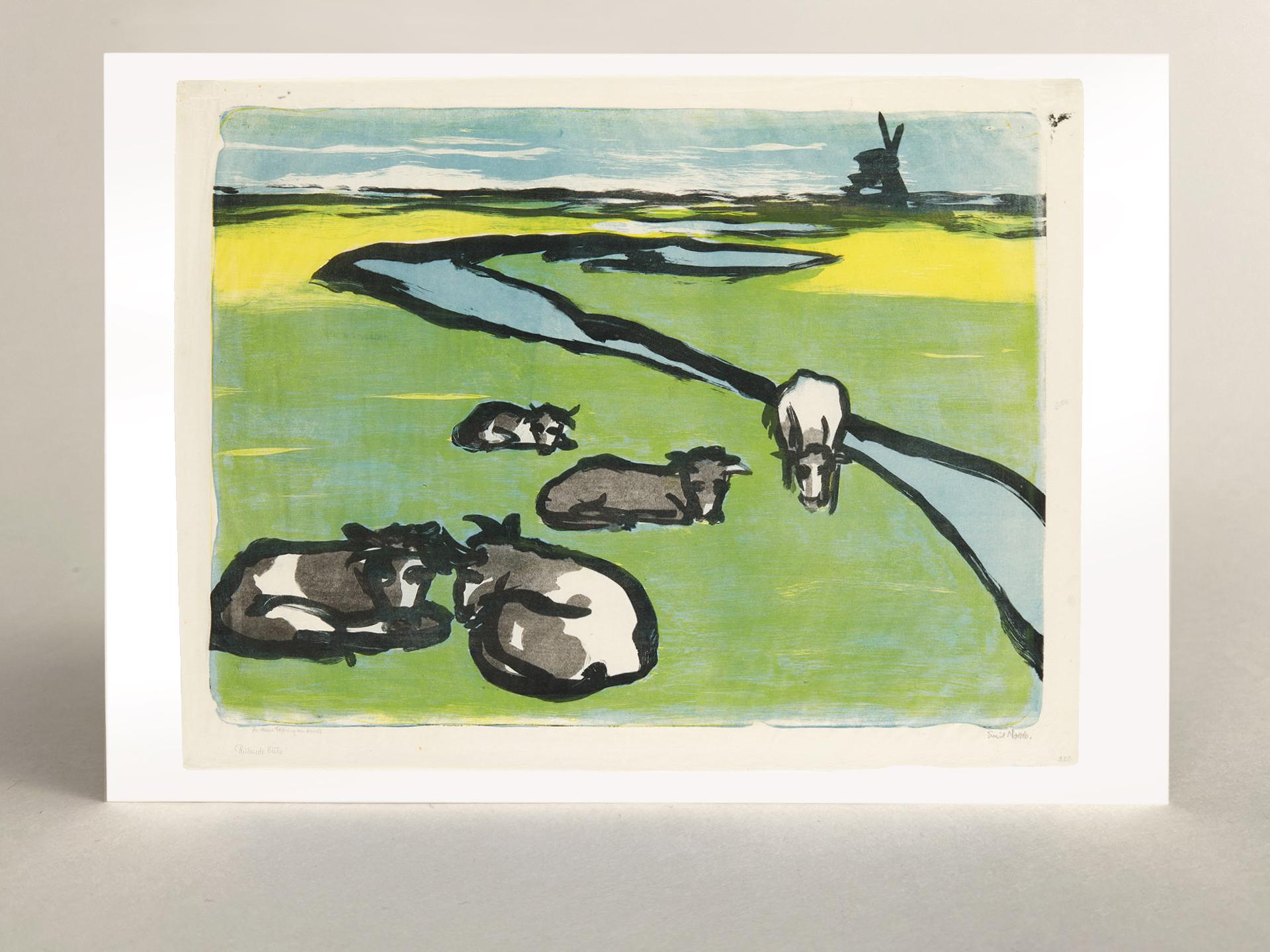 """Kunstkarte """"Ruhende Kühe"""""""