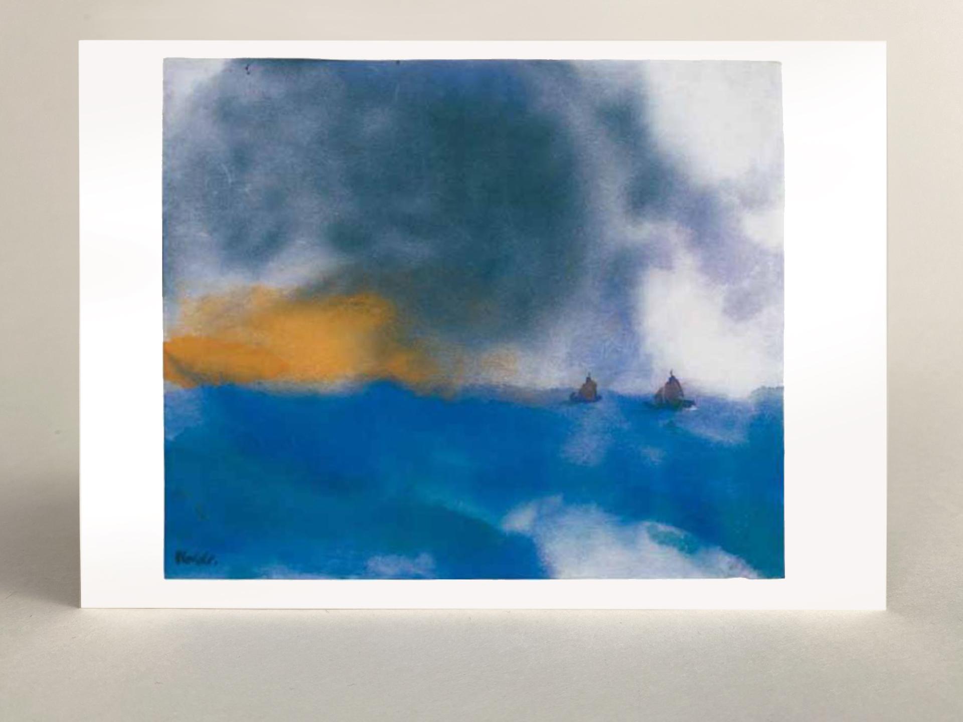 """Kunstkarte """"Blaue See mit zwei kleinen Seglern"""""""