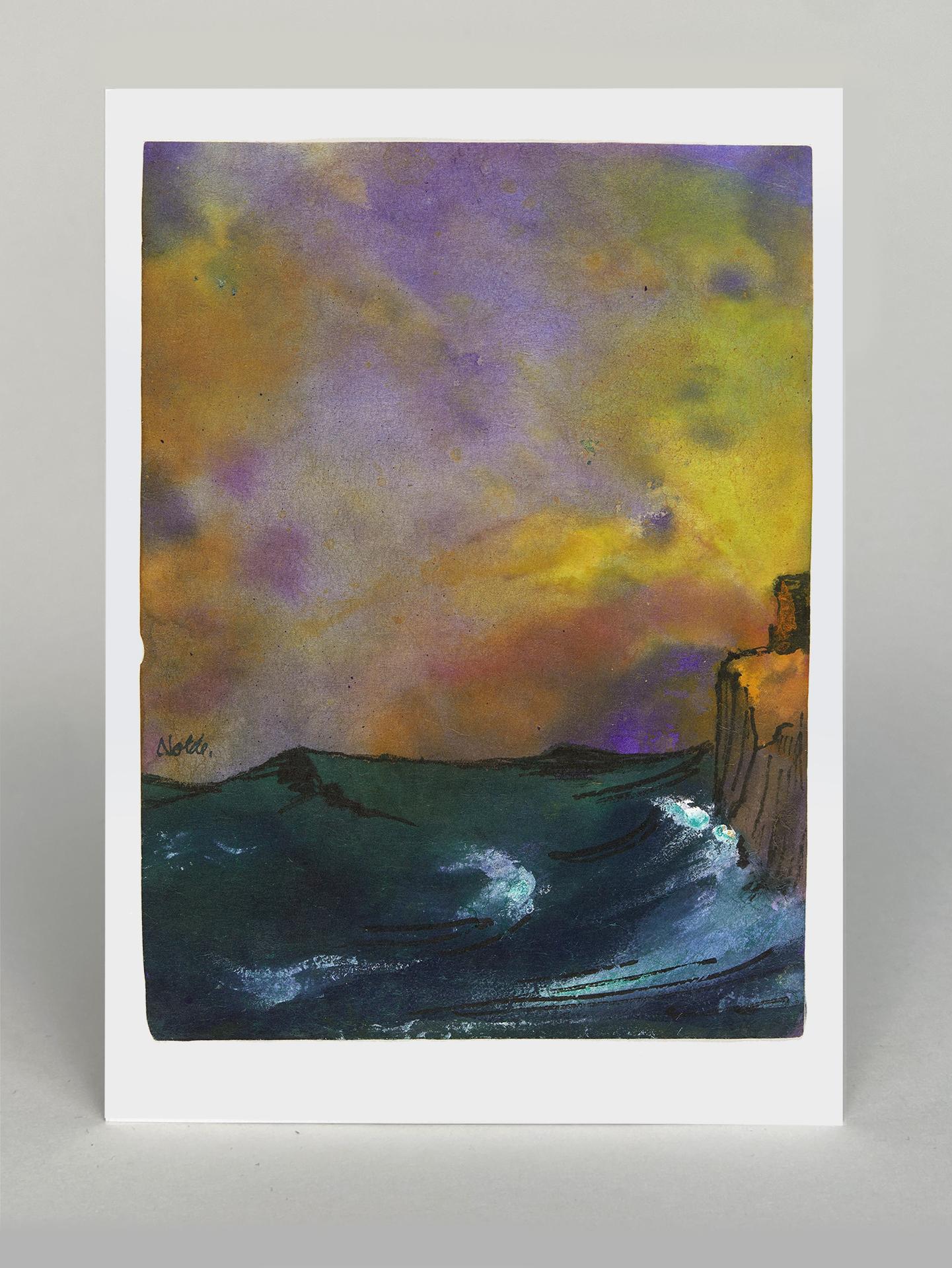 "Kunstkarte ""Grünes Meer an Felsenküste"""