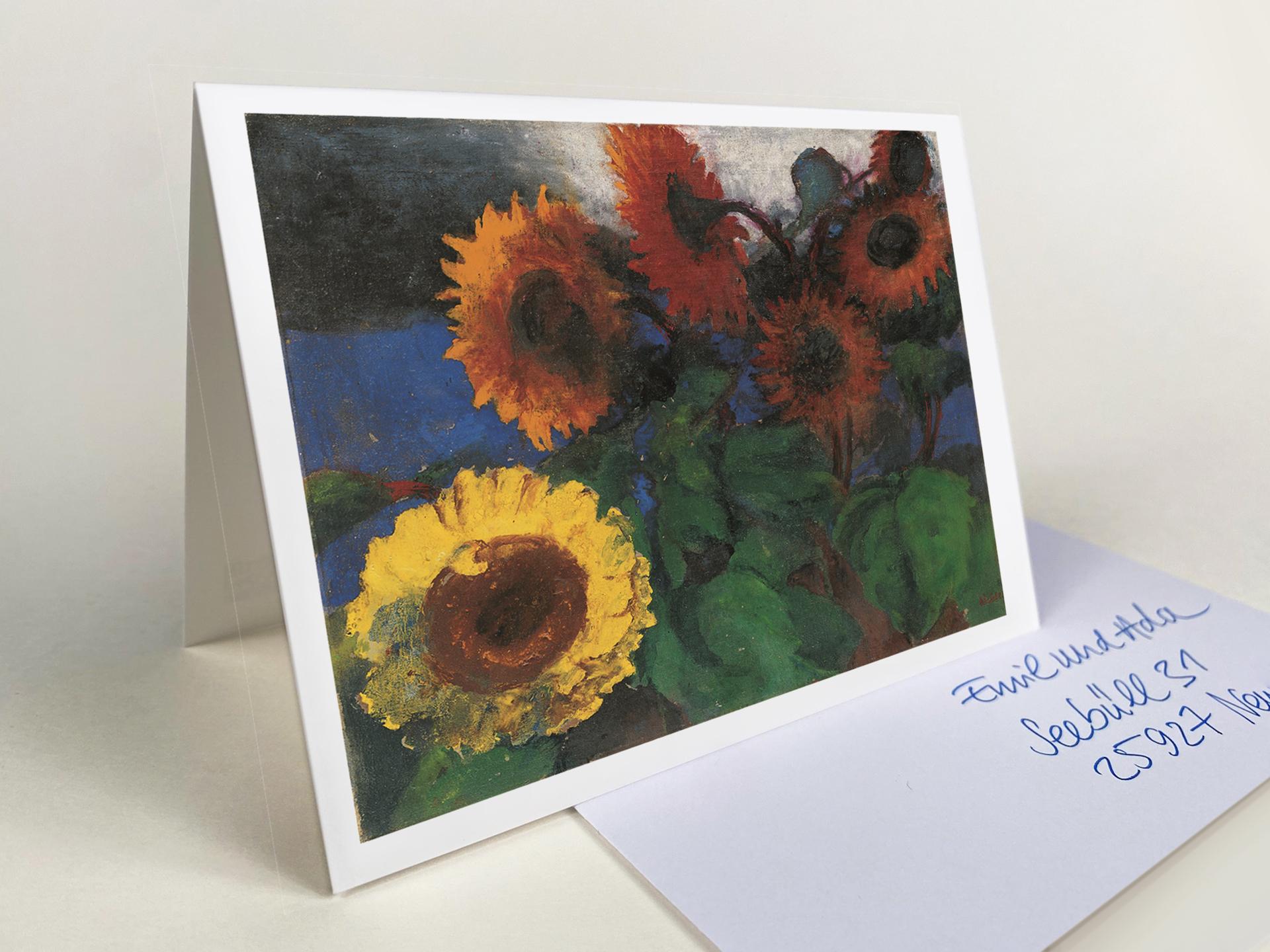 """Klappkarte """"Gelbe und braunrote Sonnenblumen"""""""