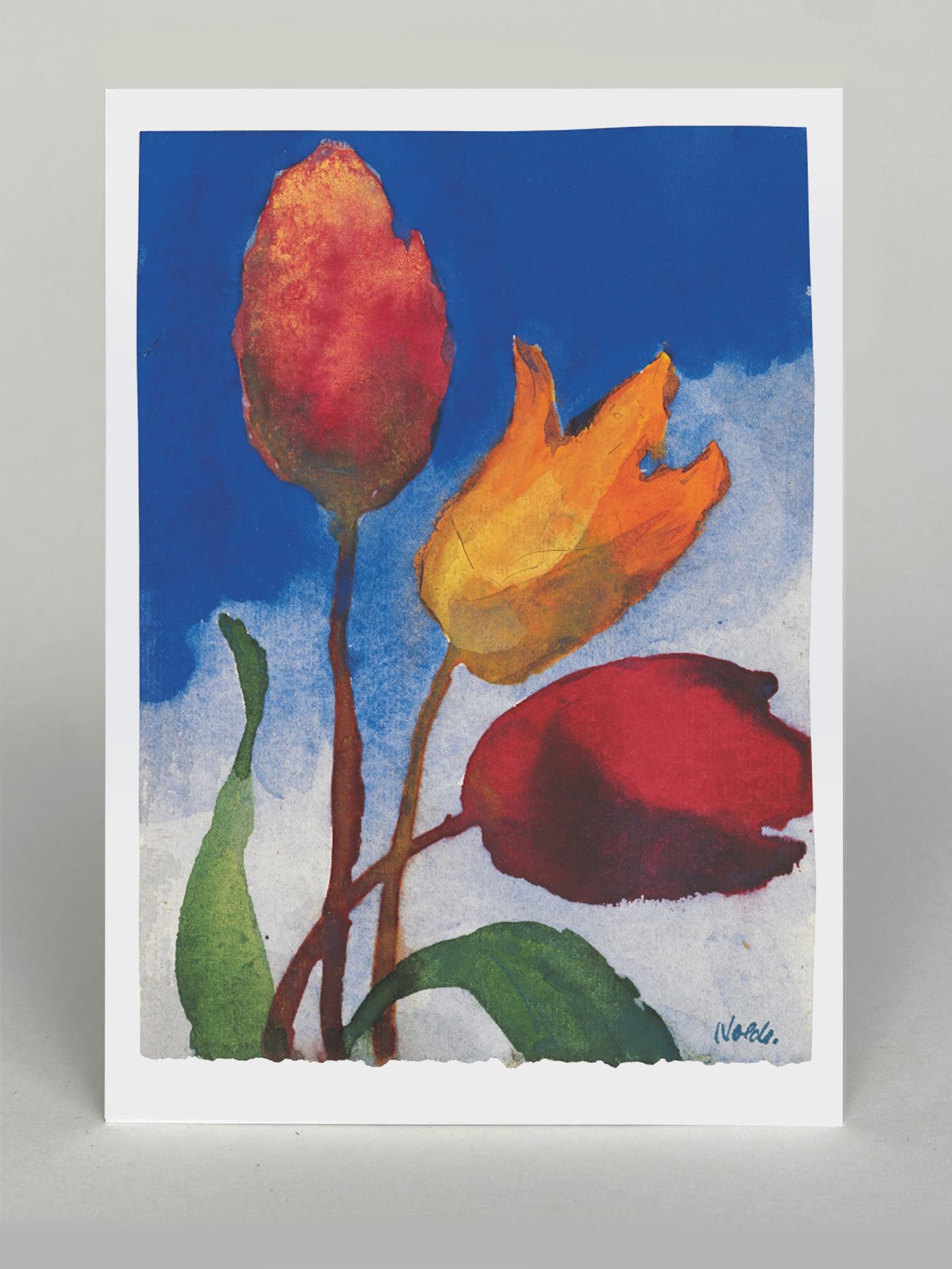 "Kunstkarte ""Drei Tulpen (rot, orange, rosa)"""