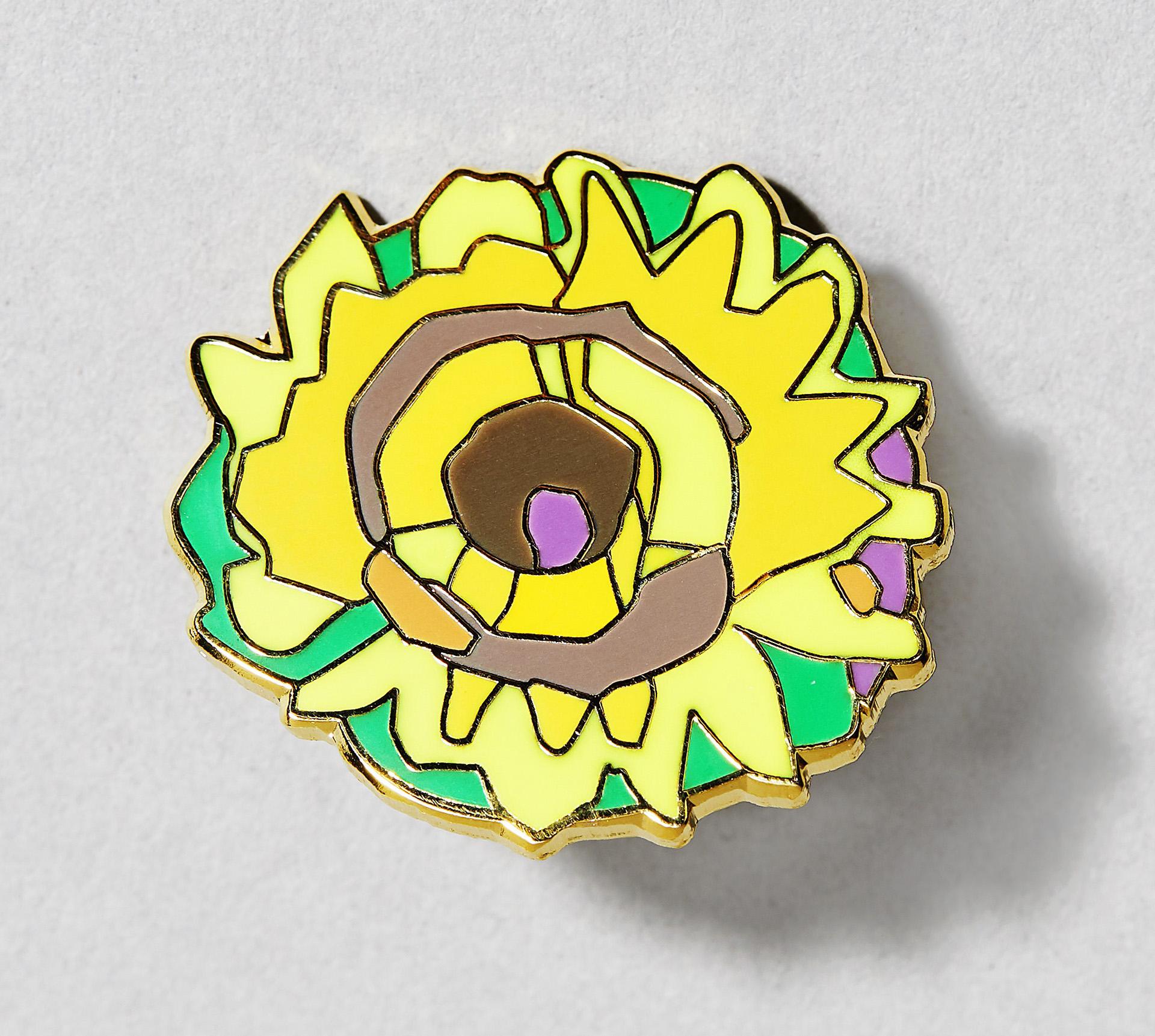 "Emaillierter Pin ""Sonnenblume"""