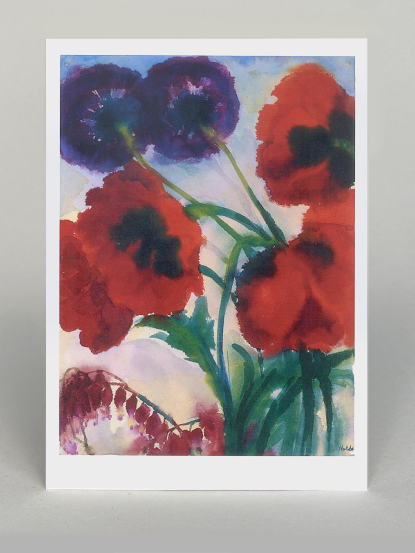 "Kunstkarte ""Roter und violetter Mohn"""