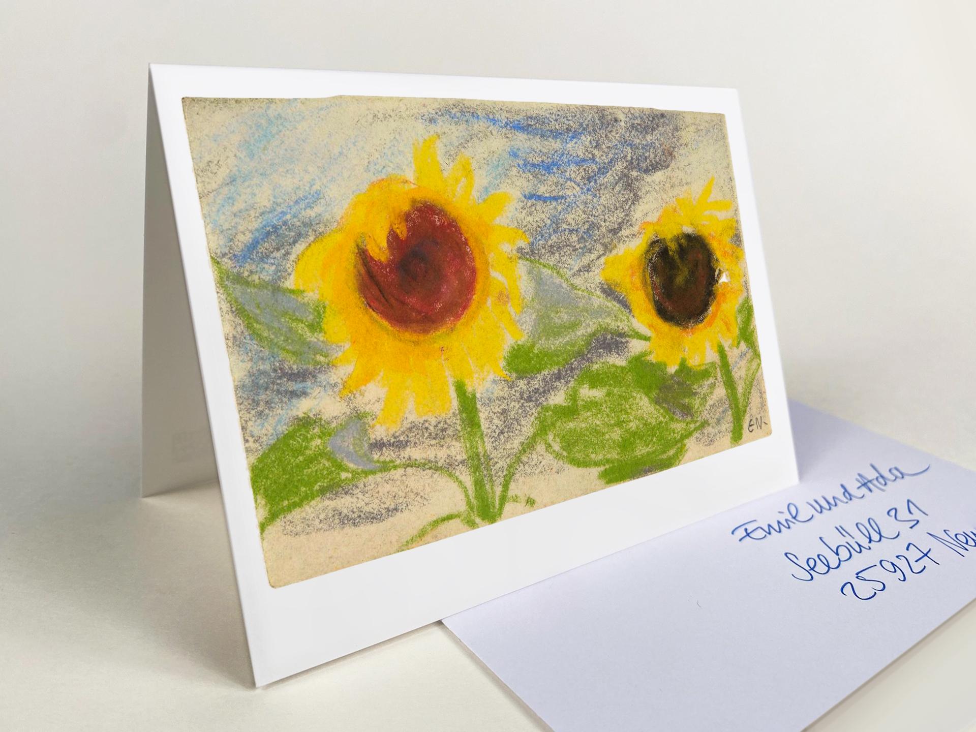 """Klappkarte """"Zwei gelbe Sonnenblumen"""""""